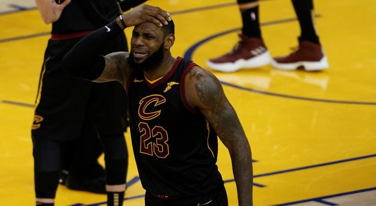 Cleveland Cavaliers forward LeBron James (23) reacts to a call against him during the second half in game one of the 2018 NBA Finals at Oracle Arena.
