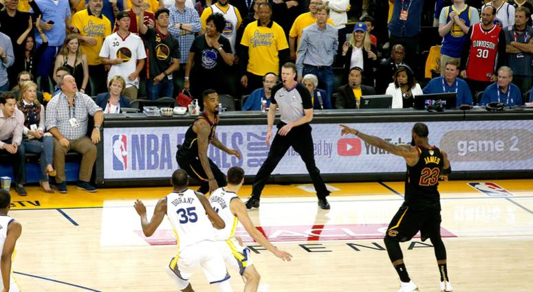 May 31, 2018; Oakland, CA, USA; Cleveland Cavaliers guard JR Smith (5) dribbles the ball after controlling an offensive rebound against the Golden State Warriors with under five seconds remaining in the fourth quarter in game one of the 2018 NBA Finals at
