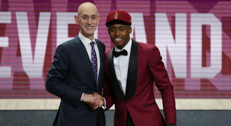 Jun 21, 2018; Brooklyn, NY, USA; Collin Sexton (Alabama) greets NBA commissioner Adam Silver after being selected as the number eight overall pick to the Cleveland CAvaliers in the first round of the 2018 NBA Draft at the Barclays Center. Mandatory Credit