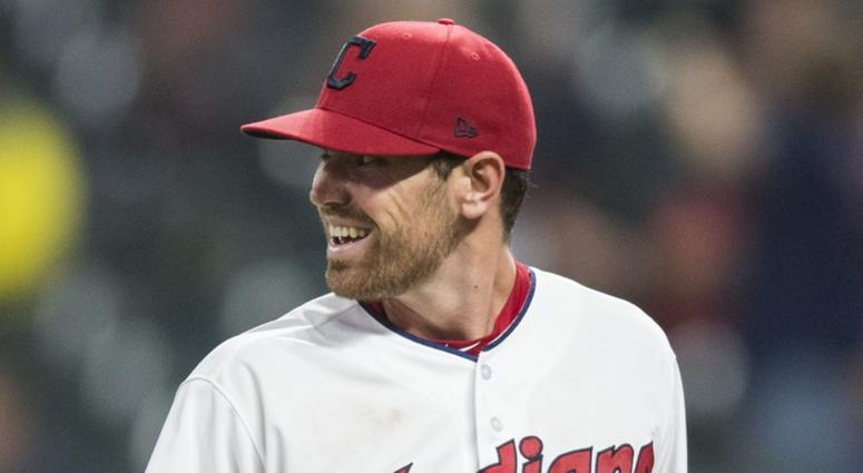 Cleveland Indians starting pitcher Shane Bieber (57) reacts after the Indians turned a double play to end the sixth inning against the Detroit Tigers at Progressive Field.