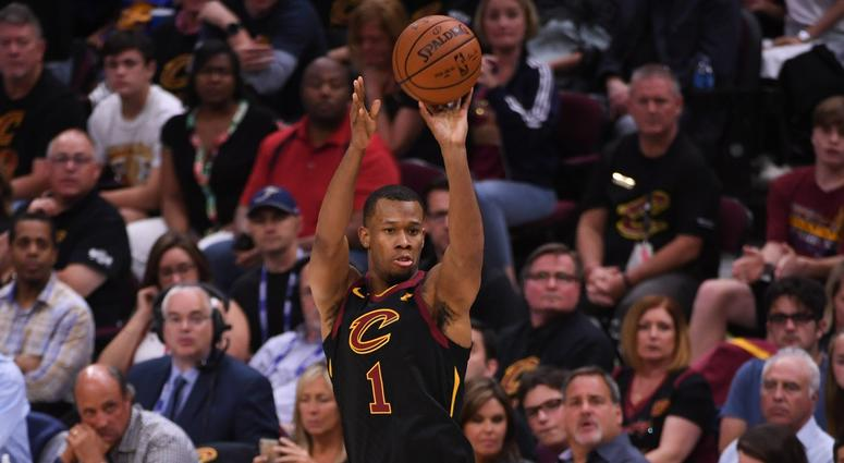 Cleveland Cavaliers guard Rodney Hood (1) shoots the basketball during the first quarter in game four of the 2018 NBA Finals against the Golden State Warriors at Quicken Loans Arena