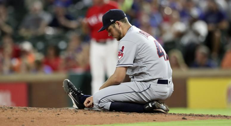 Jul 20, 2018; Arlington, TX, USA; Cleveland Indians starting pitcher Trevor Bauer (47) reacts during the fifth inning against the Texas Rangers at Globe Life Park in Arlington.