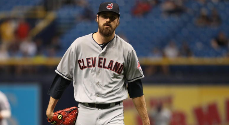 Sep 10, 2018; St. Petersburg, FL, USA; Cleveland Indians relief pitcher Andrew Miller (24) at Tropicana Field.