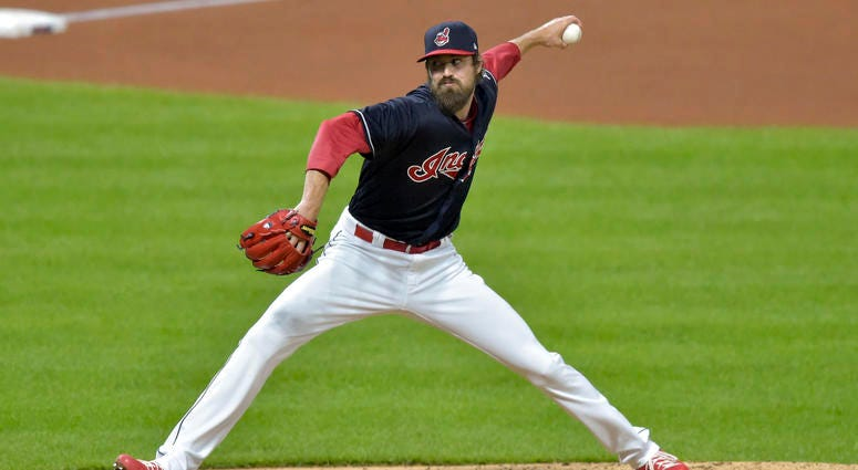 Sep 19, 2018; Cleveland, OH, USA; Cleveland Indians relief pitcher Andrew Miller (24) deliversa pitch in the seventh inning against the Chicago White Sox at Progressive Field.