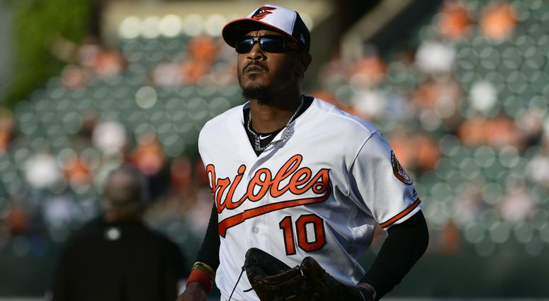 Sep 30, 2018; Baltimore, MD, USA; Baltimore Orioles right fielder Adam Jones (10) runs off the field during the eighth inning against the Houston Astros at Oriole Park at Camden Yards. Mandatory Credit: Tommy Gilligan-USA TODAY Sports