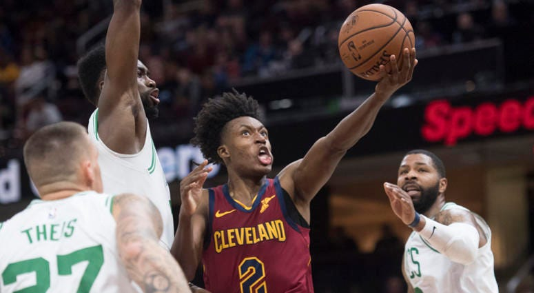 Oct 6, 2018; Cleveland, OH, USA; Cleveland Cavaliers guard Collin Sexton (2) drives to the basket against the Boston Celtics during the first half at Quicken Loans Arena.