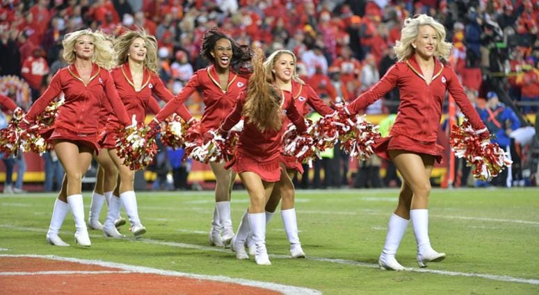 Oct 21, 2018; Kansas City, MO, USA; Kansas City Chiefs cheerleaders celebrate after a touchdown during the second half against the Cincinnati Bengals at Arrowhead Stadium. The Chiefs won 45-10. Mandatory Credit: Denny Medley-USA TODAY Sports