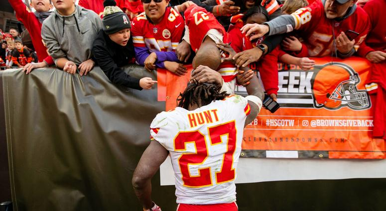 Kansas City Chiefs running back Kareem Hunt (27) visits with fans after the game against the Cleveland Browns at FirstEnergy Stadium.