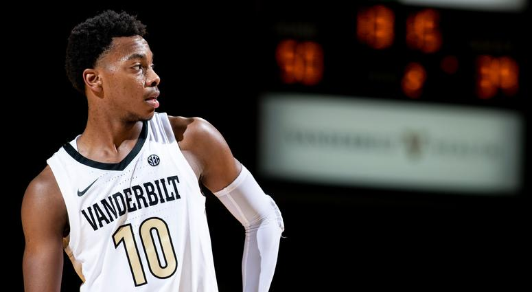 Vanderbilt guard Darius Garland (10) waits for play to resume against Alcorn State during the second half at Memorial Gym in Nashville, Tenn., Friday, Nov. 16, 2018. Vandy Alcornstate 111618 027