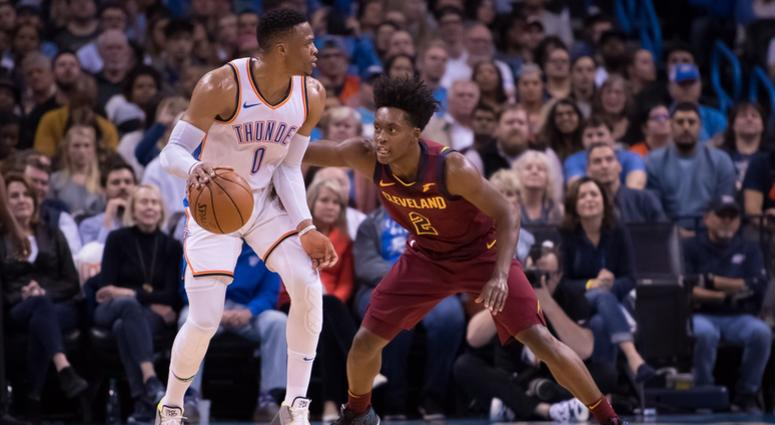 Nov 28, 2018; Oklahoma City, OK, USA; Oklahoma City Thunder guard Russell Westbrook (0) dribbles while defended by Cleveland Cavaliers guard Collin Sexton (2) during the second quarter at Chesapeake Energy Arena. Mandatory Credit: Rob Ferguson-USA TODAY S