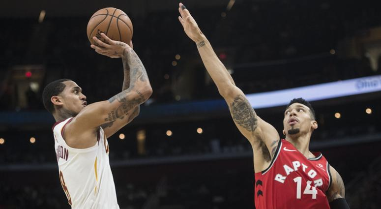 Dec 1, 2018; Cleveland, OH, USA; Cleveland Cavaliers guard Jordan Clarkson (8) shoots over the defense of Toronto Raptors guard Danny Green (14) during the second half at Quicken Loans Arena. Mandatory Credit: Ken Blaze-USA TODAY Sports