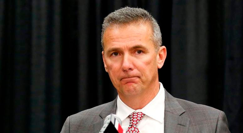 Dec 4, 2018; Columbus, OH, USA; Ohio State Buckeyes head coach Urban Meyer addresses members of the media to announce his intentions to step down from coaching after the Rose Bowl game. Meyer held the press conference at the Ohio State University Fawcett