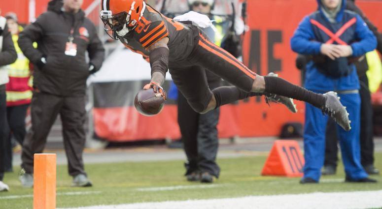 Dec 23, 2018; Cleveland, OH, USA; Cleveland Browns wide receiver Rashard Higgins (81) dives into the end zone for a touchdown during the second half against the Cincinnati Bengals at FirstEnergy Stadium. Mandatory Credit: Ken Blaze-USA TODAY Sports