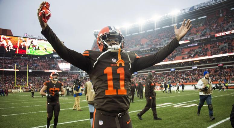 Dec 23, 2018; Cleveland, OH, USA; Cleveland Browns wide receiver Antonio Callaway (11) celebrates after the Browns beat the Cincinnati Bengals at FirstEnergy Stadium. Mandatory Credit: Ken Blaze-USA TODAY Sports