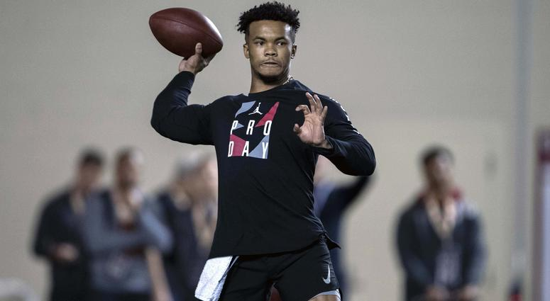 Oklahoma quarterback Kyler Murray participates in positional workouts during pro day at the Everest Indoor Training Center at the University of Oklahoma.