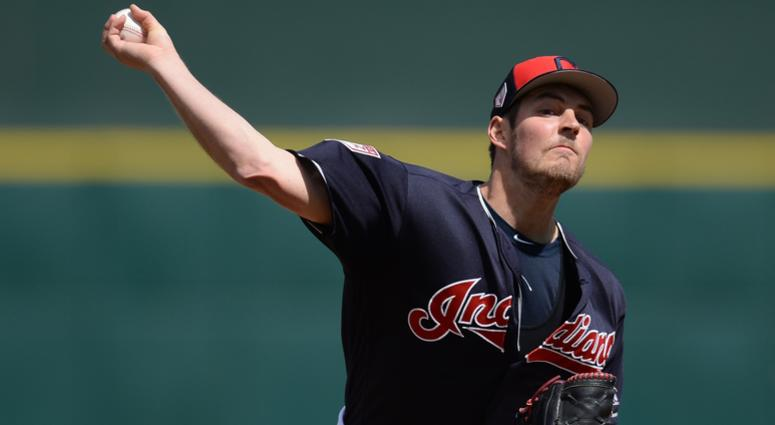 Mar 13, 2019; Goodyear, AZ, USA; Cleveland Indians starting pitcher Trevor Bauer (47) pitches against the Milwaukee Brewers during the first inning at Goodyear Ballpark. Mandatory Credit: Joe Camporeale-USA TODAY Sports
