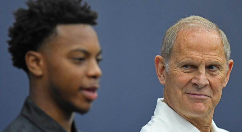 Head coach John Beilein listens as Cleveland Cavaliers first round pick Darius Garland answers questions during a press conference at Cleveland Clinic Courts.