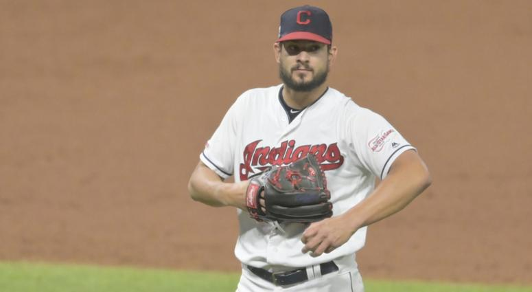 Sep 4, 2019; Cleveland, OH, USA; Cleveland Indians relief pitcher Brad Hand (33) reacts in the ninth inning against the Chicago White Sox at Progressive Field. Mandatory Credit: David Richard-USA TODAY Sports