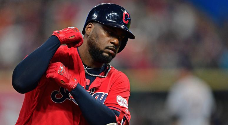 Cleveland Indians designated hitter Franmil Reyes (32) rounds the bases after hitting a two run home run during the fourth inning against the Detroit Tigers at Progressive Field.