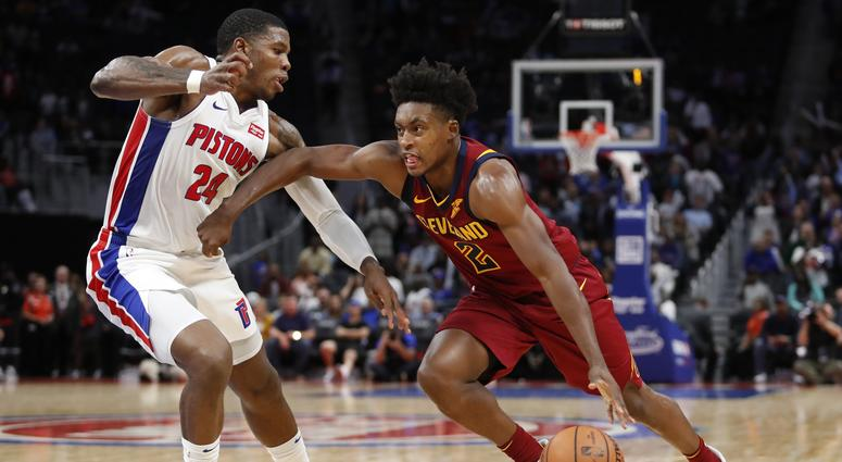 Oct 11, 2019; Detroit, MI, USA; Cleveland Cavaliers guard Collin Sexton (2) drives against Detroit Pistons guard Joe Johnson (24) during the fourth quarter at Little Caesars Arena. Mandatory Credit: Raj Mehta-USA TODAY Sports