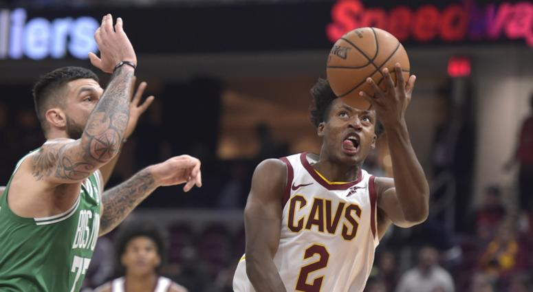Oct 15, 2019; Cleveland, OH, USA; Cleveland Cavaliers guard Collin Sexton (2) drives against Boston Celtics center Vincent Poirier (77) in the second quarter at Rocket Mortgage FieldHouse. Mandatory Credit: David Richard-USA TODAY Sports