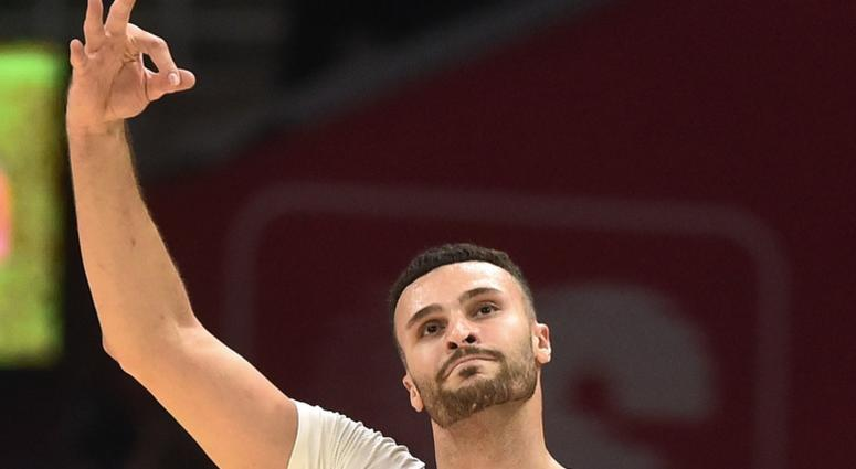Cleveland Cavaliers forward Larry Nance Jr. (22) celebrates a three pointer during the first half against the Indiana Pacers at Rocket Mortgage FieldHouse.