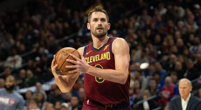 Nov 12, 2019; Philadelphia, PA, USA; Cleveland Cavaliers forward Kevin Love (0) drives for a shot against the Philadelphia 76ers during the third quarter at Wells Fargo Center. Mandatory Credit: Bill Streicher-USA TODAY Sports