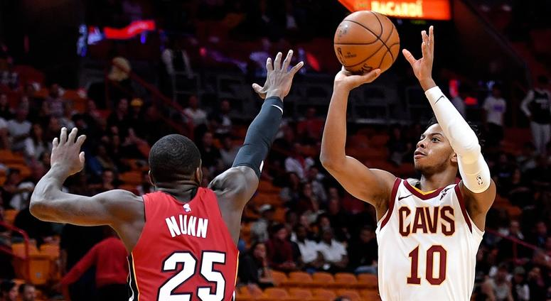 Nov 20, 2019; Miami, FL, USA; Cleveland Cavaliers guard Darius Garland (10) shoots over Miami Heat guard Kendrick Nunn (25) during the second half at American Airlines Arena. Mandatory Credit: Steve Mitchell-USA TODAY Sports