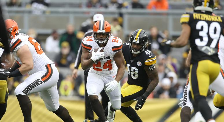 Dec 1, 2019; Pittsburgh, PA, USA; Cleveland Browns running back Nick Chubb (24) rushes the ball against the Pittsburgh Steelers during the second quarter at Heinz Field. Mandatory Credit: Charles LeClaire-USA TODAY Sports