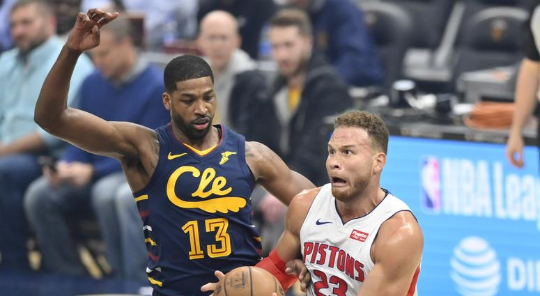 Dec 3, 2019; Cleveland, OH, USA; Detroit Pistons forward Blake Griffin (23) drives to the basket against Cleveland Cavaliers center Tristan Thompson (13) in the first quarter at Rocket Mortgage FieldHouse. Mandatory Credit: David Richard-USA TODAY Sports
