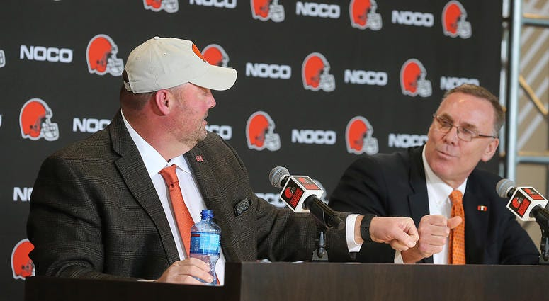 New Cleveland Browns head coach Freddie Kitchens fist bumps General Manager John Dorsey during a press conference on Monday, Jan. 14, 2019 at FirstEnergy Stadium in Cleveland, Ohio. (Photo by Phil Masturzo/Akron Beacon Journal/TNS/Sipa USA)