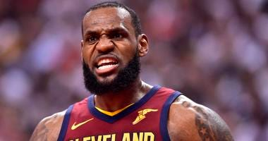 Cleveland Cavaliers forward LeBron James has words for the referees during the first half of Game 2 of an NBA basketball playoffs second-round series against the Toronto Raptors on Thursday, May 3, 2018, in Toronto