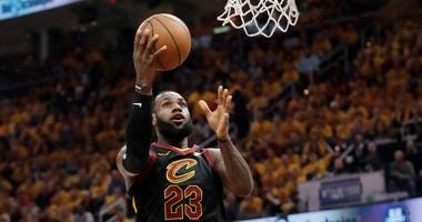 Cleveland Cavaliers' LeBron James (23) shoots against the Boston Celtics in the first half of Game 3 of the NBA basketball Eastern Conference finals, Saturday, May 19, 2018, in Cleveland.