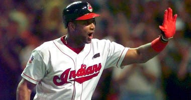 FILE - In this July 8, 1997, file photo, Cleveland Indians' Sandy Alomar Jr. reacts after hitting a two-run home run in the seventh inning of baseball's All-Star Game in Cleveland. With the game tied 1-1 in the seventh inning, Alomar, connected for a two-