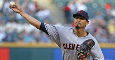 CHICAGO, ILLINOIS - MAY 30: Starting pitcher Carlos Carrasco #59 of the Cleveland Indians delivers the ball against the Chicago White Sox at Guaranteed Rate Field on May 30, 2019 in Chicago, Illinois. (Photo by Jonathan Daniel/Getty Images)