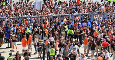 CLEVELAND, OH - SEPTEMBER 08: Fans pass through security at FirstEnergy Stadium before the NFL game between the Cleveland Browns and the Tennessee Titans on September 08, 2019 in Cleveland, Ohio . (Photo by Jamie Sabau/Getty Images)