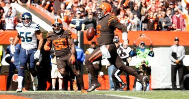 CLEVELAND, OH - OCTOBER 13: Baker Mayfield #6 of the Cleveland Browns scores a touchdown during the first quarter of the game against the Seattle Seahawks at FirstEnergy Stadium on October 13, 2019 in Cleveland, Ohio. (Photo by Kirk Irwin/Getty Images)