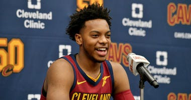 INDEPENDENCE, OHIO - SEPTEMBER 30: Darius Garland #10 of the Cleveland Cavaliers answers questions during Cleveland Cavaliers Media Day at Cleveland Clinic Courts on September 30, 2019 in Independence, Ohio. NOTE TO USER: User expressly acknowledges and a