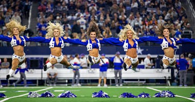 ARLINGTON, TX - NOVEMBER 28: Dallas Cowboys Cheerleaders perform on Thanksgiving Day before a game against the Buffalo Bills at NRG Stadium on November 28, 2019 in Arlington, Texas. (Photo by Wesley Hitt/Getty Images)