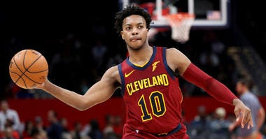 WASHINGTON, DC - NOVEMBER 08: Darius Garland #10 of the Cleveland Cavaliers passes the ball against the Washington Wizards in the second half at Capital One Arena on November 08, 2019 in Washington, DC.