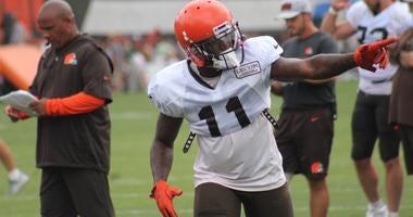 Browns receiver Antonio Callaway practices on Aug. 7, 2018, 2 days following a marijuana citation.