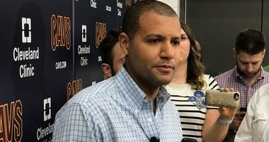 Cavaliers general manager Koby Altman speaks with reporters following the 2018 NBA Draft.
