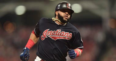 Oct 6, 2017; Cleveland, OH, USA; Cleveland Indians first baseman Carlos Santana (41) runs to third base during the sixth inning in game two of the 2017 ALDS against the New York Yankees at Progressive Field. Mandatory Credit: Ken Blaze-USA TODAY Sports