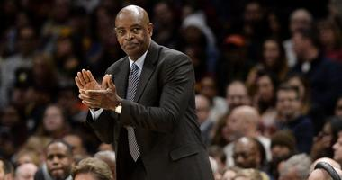 Cleveland Cavaliers associate head coach Larry Drew during the first half against the Phoenix Suns at Quicken Loans Arena.