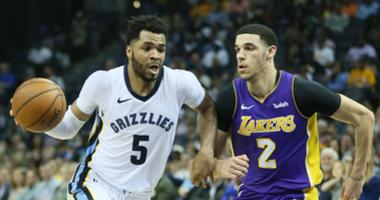 Memphis Grizzlies guard Andrew Harrison (5) drives against Los Angeles Lakers guard Lonzo Ball in the second half at FedExForum. Lakers won 100-93.