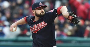 Apr 6, 2018; Cleveland, OH, USA; Cleveland Indians relief pitcher Nick Goody (44) during the game between the Cleveland Indians and the Kansas City Royals at Progressive Field.