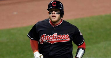 Apr 10, 2018; Cleveland, OH, USA; Cleveland Indians catcher Roberto Perez (55) rounds the bases on his solo home run in the eighth inning against the Detroit Tigers at Progressive Field.
