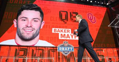 Apr 26, 2018; Arlington, TX, USA; NFL commissioner commissioner Roger Goodell walks off stage as Baker Mayfield is selected as the number one overall pick to the Cleveland Browns in the first round of the 2018 NFL Draft at AT&T Stadium.
