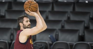 Cleveland Cavaliers center Kevin Love (0) shoots the basketball during NBA Finals media day at Oracle Arena.