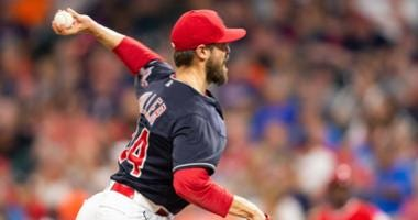 Aug 3, 2018; Cleveland, OH, USA; Cleveland Indians relief pitcher Andrew Miller (24) throws a pitch to begin the sixth inning against the Los Angeles Angels at Progressive Field.
